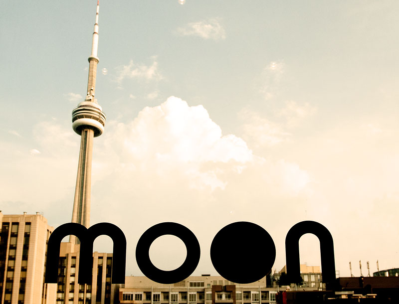 The Moon Logo against Toronto from the HBC