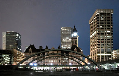 Nathan Phillips Square in Toronto during Earth hour in 2010