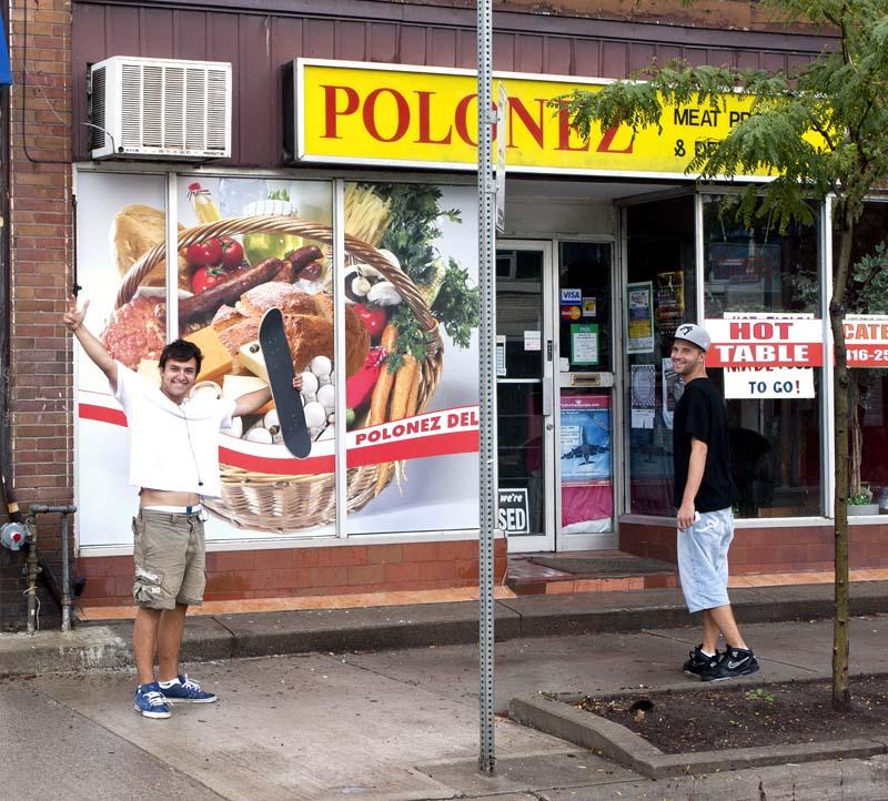 Skateboarders Infront of Polonez Deli