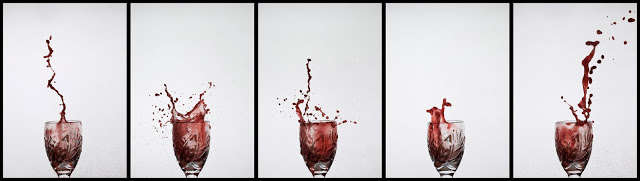 Water exploding out of a shot glass. A series by Dennis Marciniak