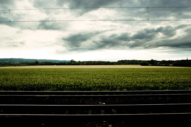 A high speed train and a landscape in Germany