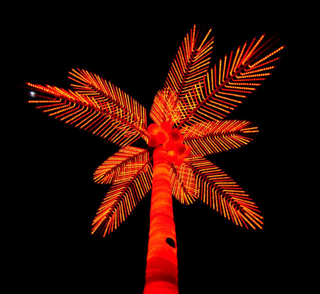 An electric palm tree at Park Lawn and Queensway in Toronto.