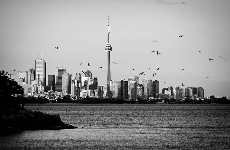 Toronto Sunset in Black and White with skyline
