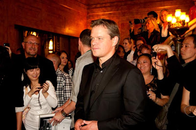 Matt Damon posing around fans at the premiere of Hereafter for TIFF 2010