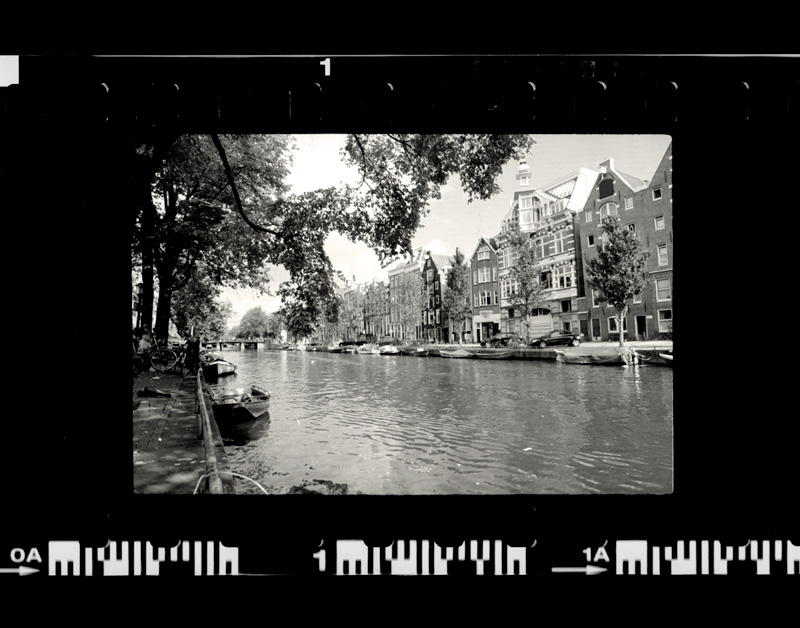 A shot of a Amsterdam canal on film