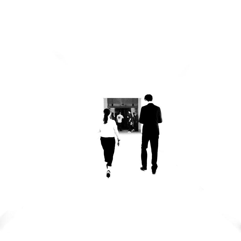 Walking down a hallway