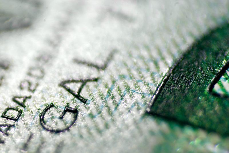 Macro of a Canadian 20 dollar bill close up