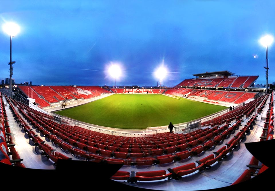 The south stand as seen from the north stand at BMO field where Toronto FC play in Canada Panorma