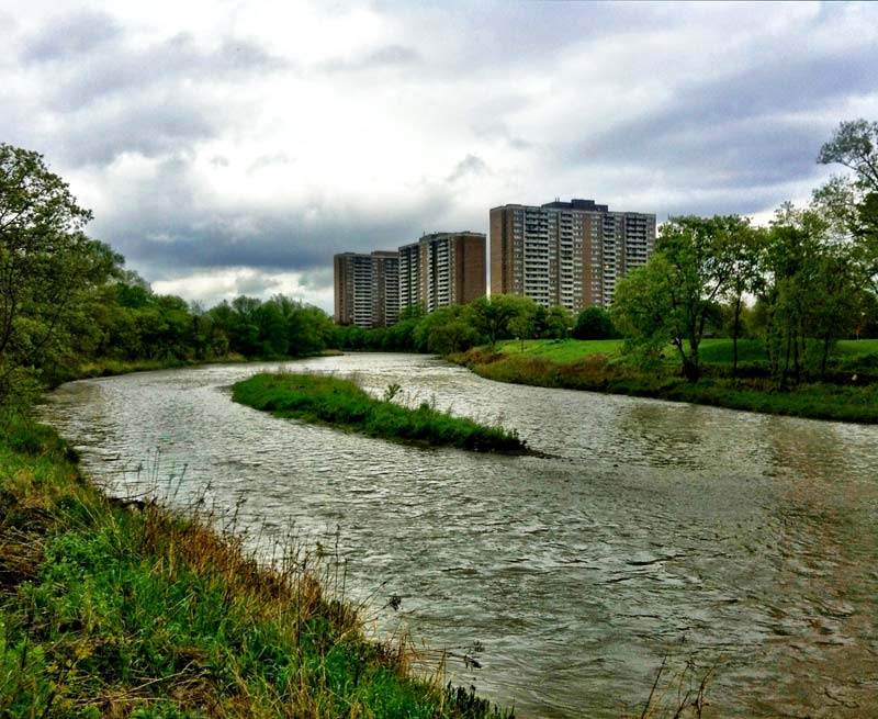 Lambton Square as seen from the Humber River in Etobicoke Toronto Canada shot by Dennis Marciniak of denMAR Photography on an iPhone