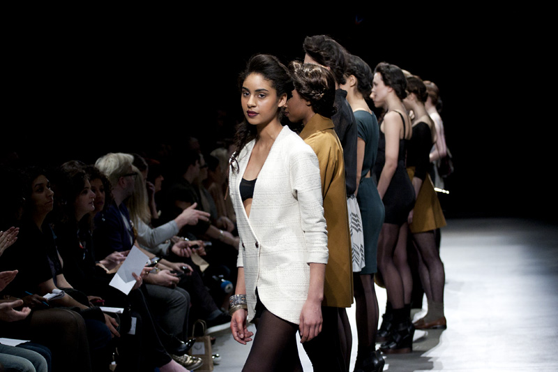 Diepo models line up during Toronto's LG Fashion Week 2011.