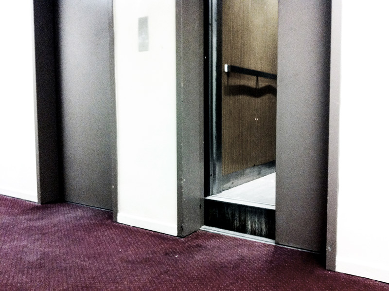 An elevator that is stuck