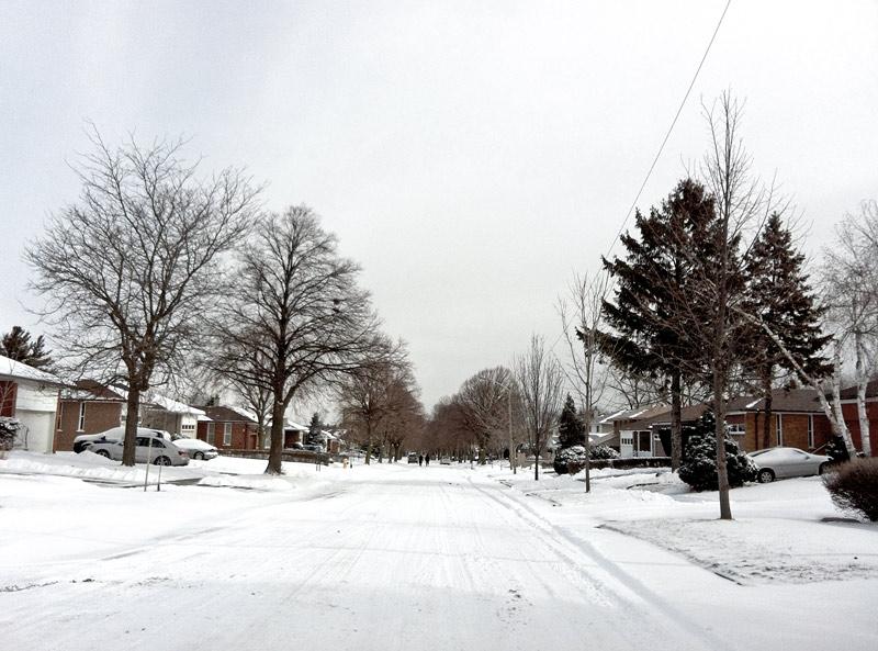 A snowfall in the suburbs of Etobicoke Ontario Canada