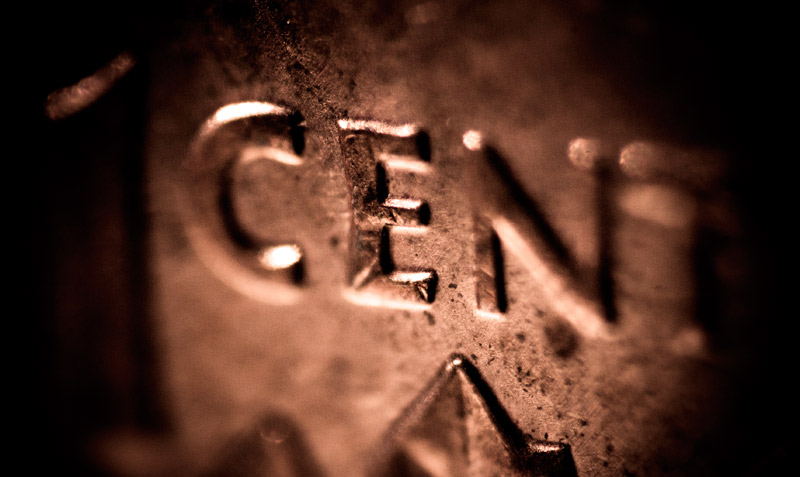 An extreme close up and macro of a penny