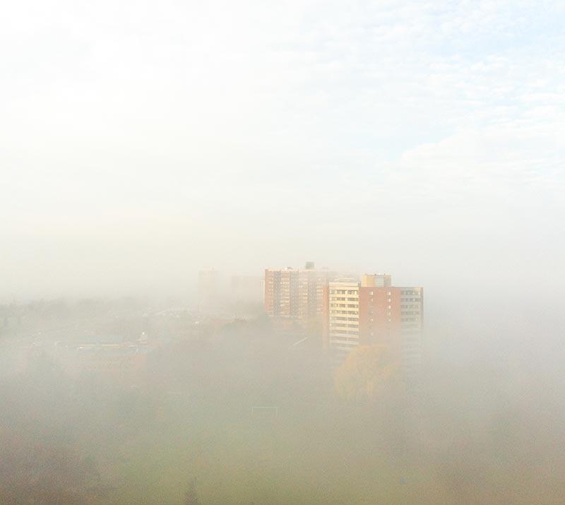 Fog in the morning in Etobicoke Ontario