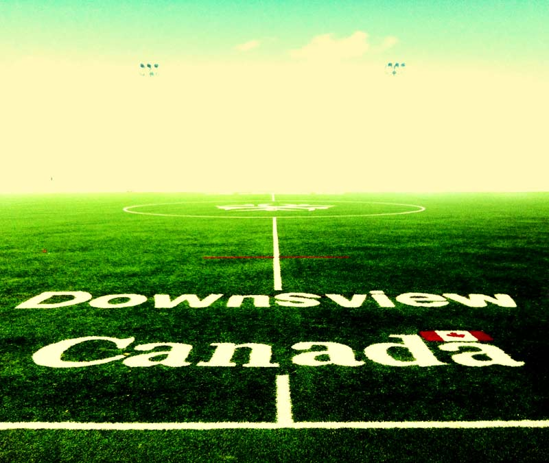 A soccer field or football pitch at Downsview Soccer Park home of the Toronto FC Training Academy shot by Dennis Marciniak of denMAR Photograhy in North York, Canada