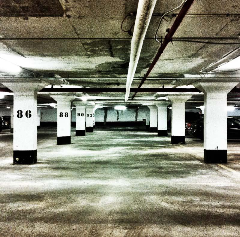 A parking garage as seen on an iPhone 4