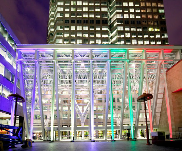 Brookfield Place's rainbow arches at night
