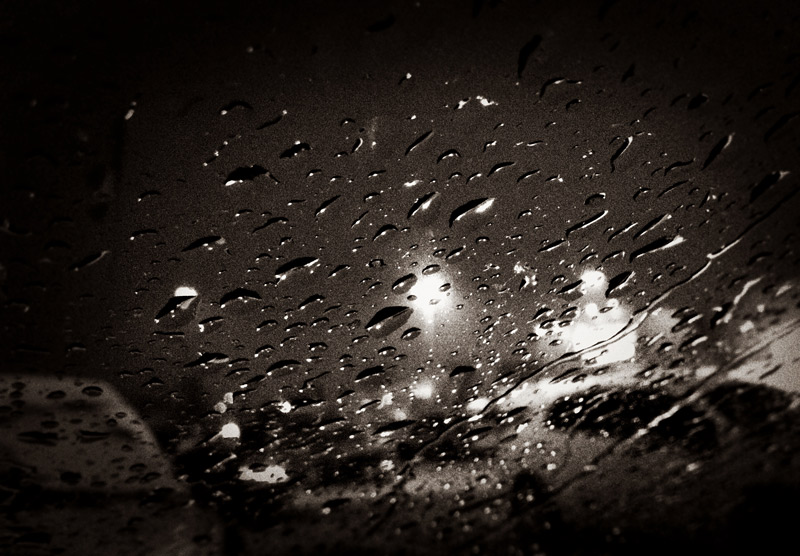 A rain on a windshield