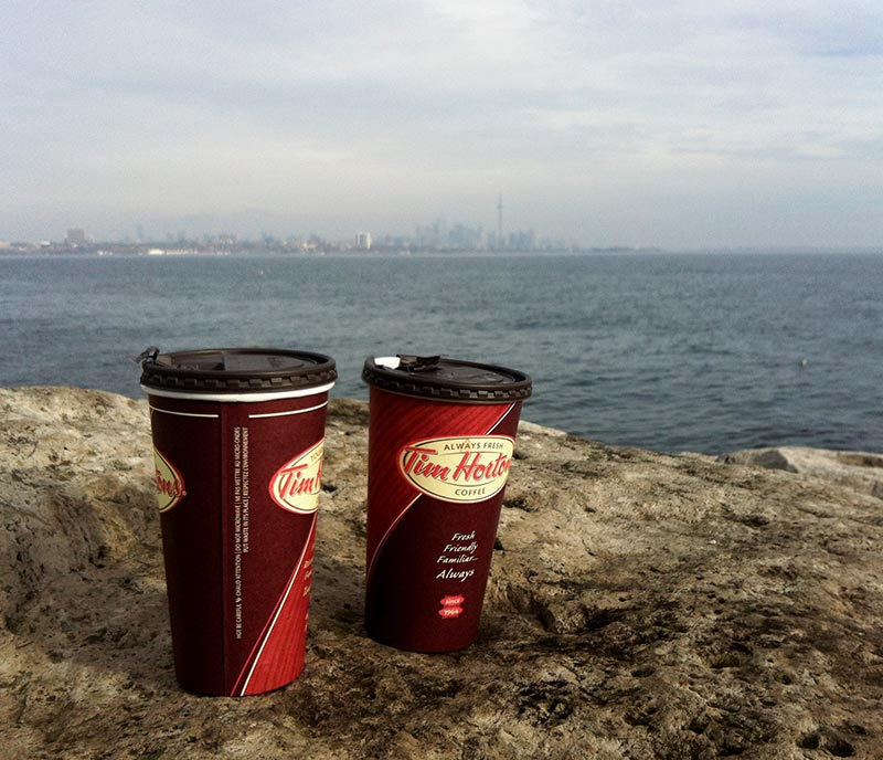 Two Tim Hortons Coffee by Lake Ontario