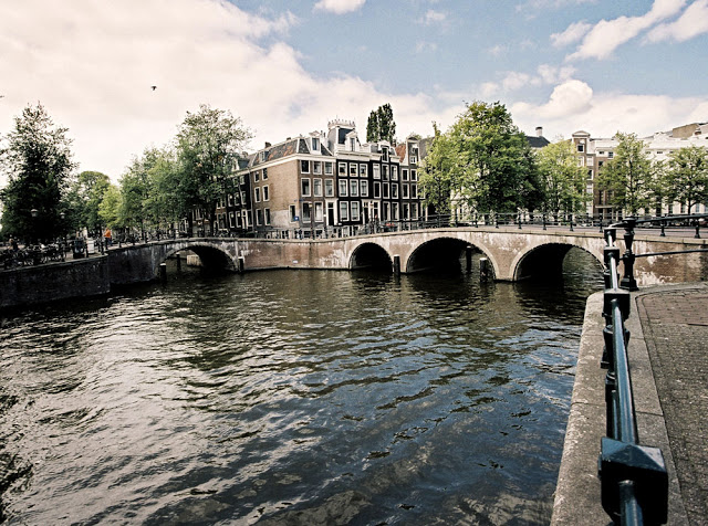 A very popular bridge and canal in Amsterdam
