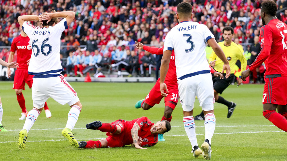 Giovinco taken to the ground once again during the second half.