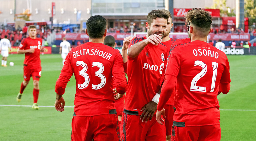 Toronto FC celebrating the match winning goal scored by Jonathan Osorio in the second half on the final match of the MLS regular season.