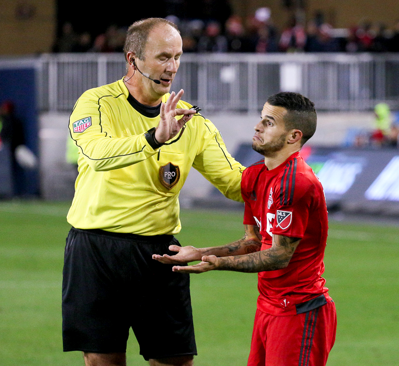 Sebastian Giovinco making a face during the playoffs in 2016.