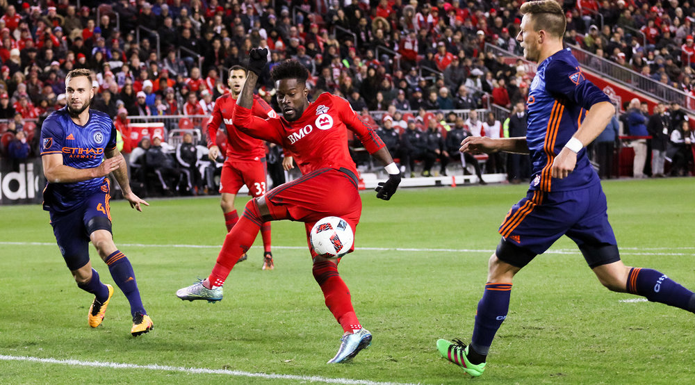 Tosaint Ricketts misses a shot in front of the net right after his substitution onto the field during a 2016 MLS Cup playoff game.  Photo by Dennis Marciniak of denMAR Media.