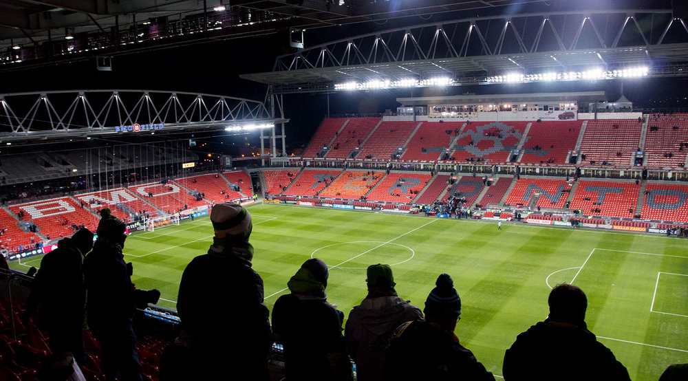 Seattle Sounders supporters await the kick off of the match at BMO Field on December 10, 2016 in Toronto. Image by denMAR Media.