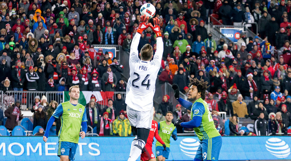 Stephen Frei gets the ball after a shot on target by Toronto FC during the 2016 MLS Cup Final. Image by Dennis Marciniak. Image by Dennis Marciniak.