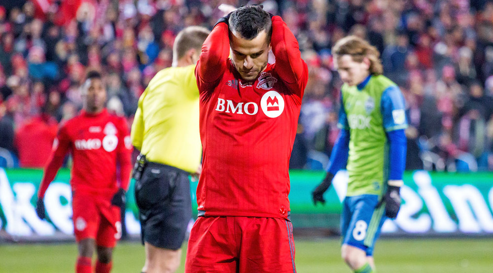 Sebastian Giovinco disappointed after a missed shot at the 2016 MLS Cup in Toronto, Canada. Image by Dennis Marciniak of denMAR Media.