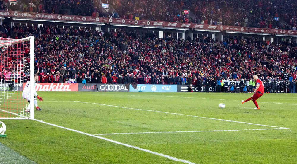 Micheal Bradley's penalty kick shot that was saved by Stephen Frei during the 2016 MLS Cup Shootouts. Image by Dennis Marciniak.
