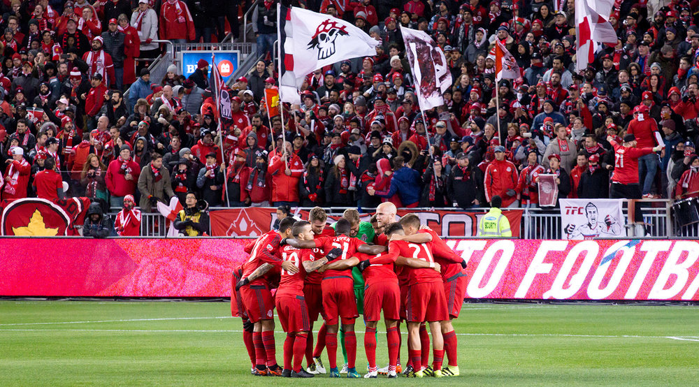 A Toronto FC huddle takes place led by Toronto FC Captain Michael Bradley in 2016 at BMO Field in Canada. Picture by Dennis Marciniak.