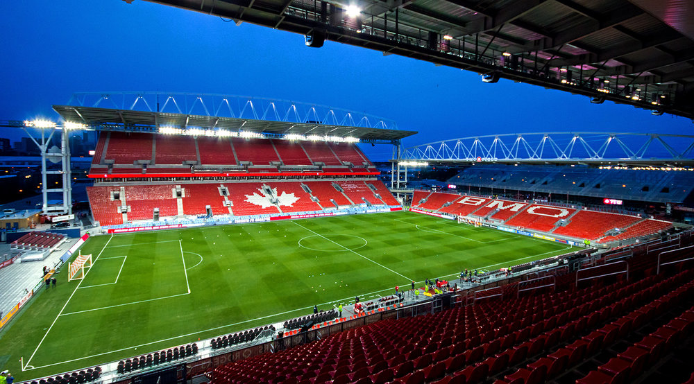 An empty BMO Field at night before a match in the summer in 2016. Toronto, Canada. Image by Dennis Marciniak.