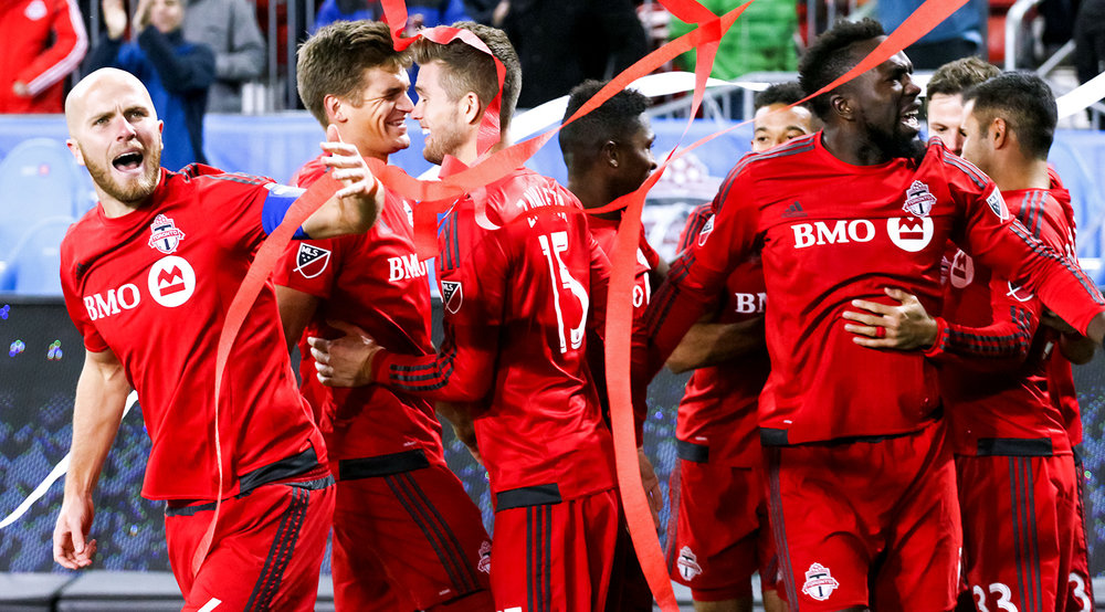 Michael Bradley eggs on the rest of his team to get on with the match after celebrating a vicious goal in 2016. Image by denMAR Media.