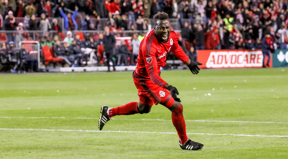 Jozy Altidore celebrates another playoff goal during the playoffs in 2016. Image by denMAR Media, taken by Dennis Marciniak.