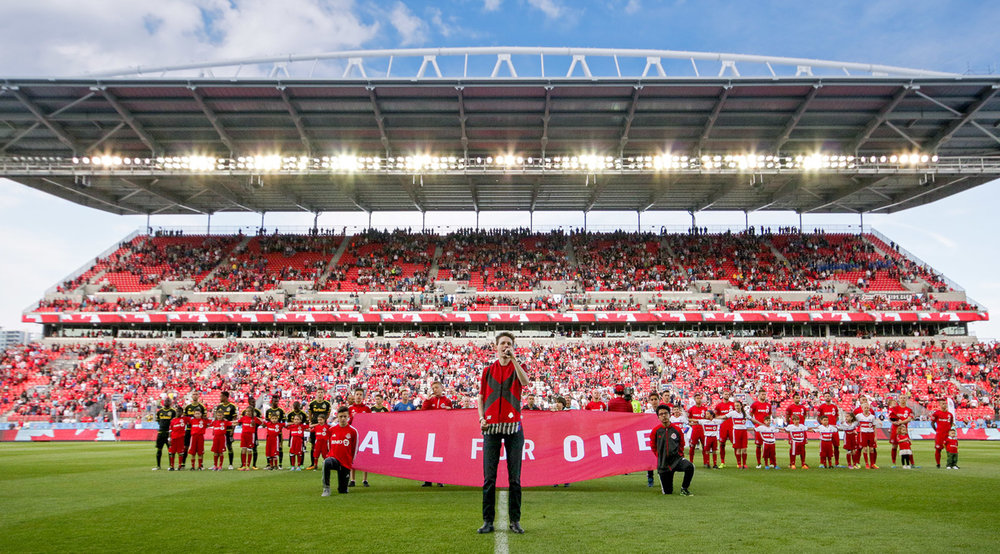 Opening ceremonies during a Toronto FC match in 2016 at BMO Field. Image by Dennis Marciniak of denMAR Media.