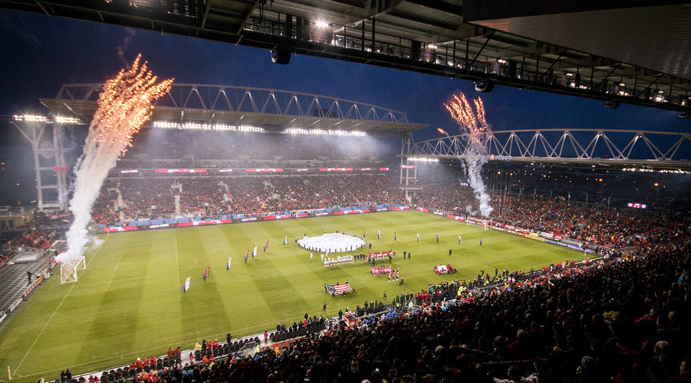 Opening celebrations kick off with fireworks at BMO Field for the 2017 home opener. Photo by Dennis Marciniak of denMAR Media.