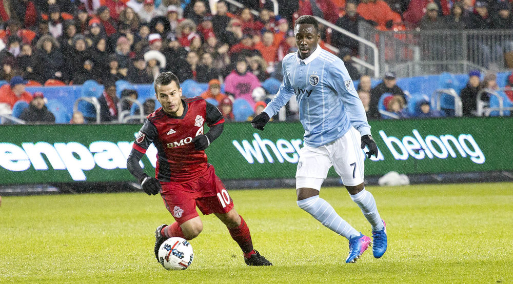 Giovinco looks to move the ball upfield during the 2017 Toronto FC home opener at BMO Field. Image by Dennis Marciniak of denMAR Media.