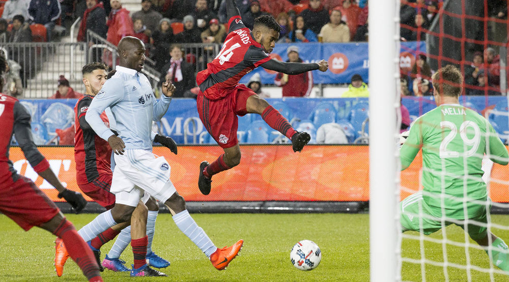 Raheem Edwards blasts a ball towards the SKC net on March 31, 2017 at a MLS match. Image by Dennis Marciniak of denMAR Media.