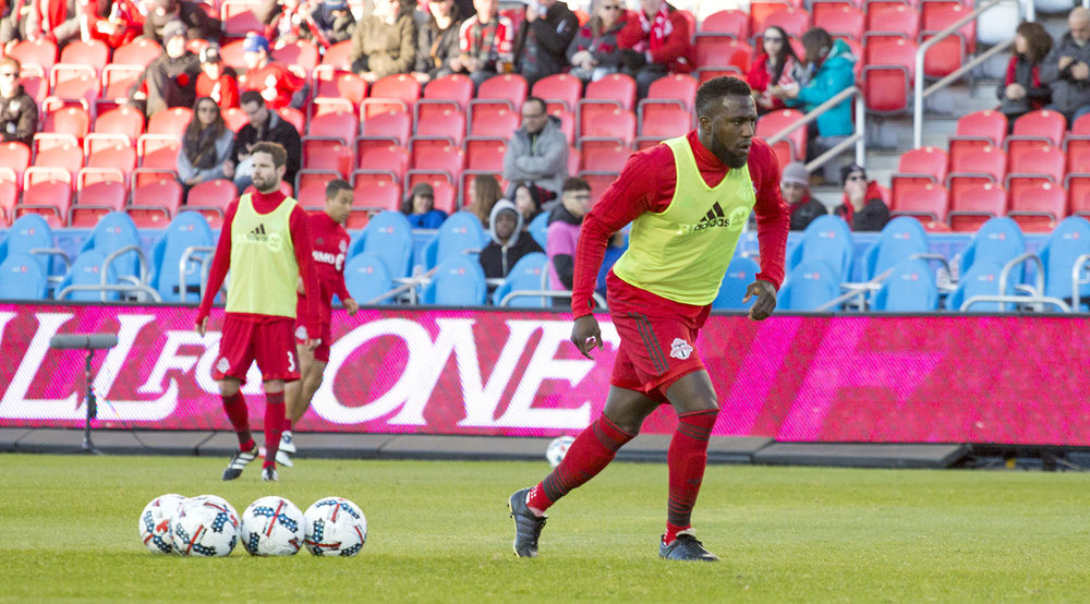 Jozy Altidore doing warm ups before a Major League Soccer regular season match in 2017. Image by Dennis Marciniak of denMAR Photography.