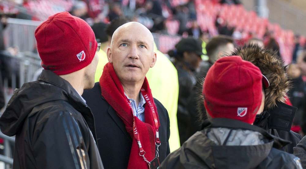 Bill Manning in the Toronto FC techinical area before the match againts Atlanta United in 2017 at BMO Field. Image by denMAR edia.