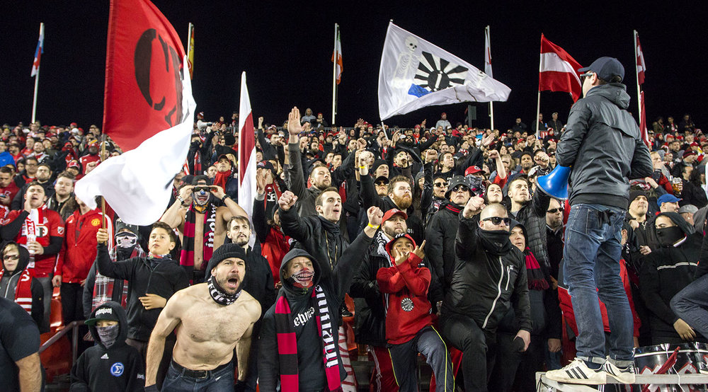 South End SUpporters making all kinds of noise at a Toronto FC game against Atalnta United FC. Image by Dennis Marciniak of denMAR Media