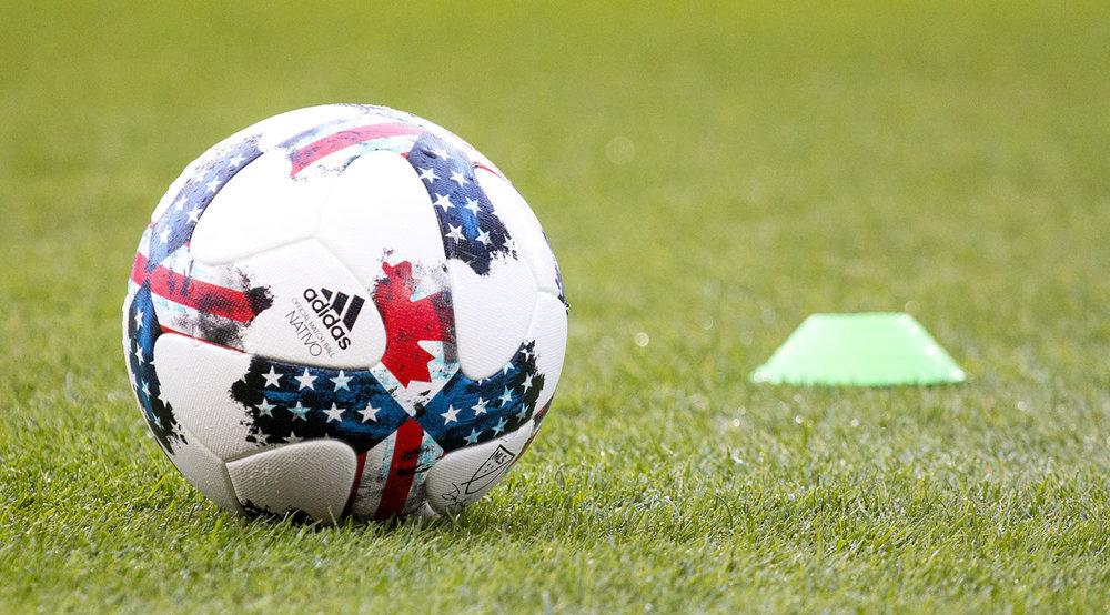 The official 2017 Major League Soccer match ball the Addidas Nativo sporting the Canadian and the American flags. Image by Dennis Marciniak of denMAR Media.