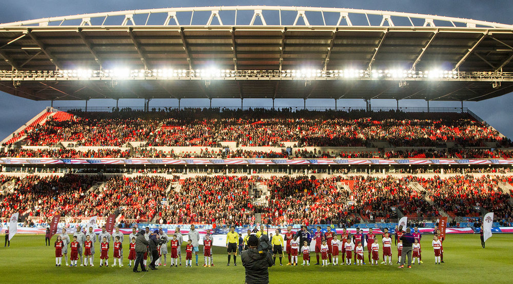 Opening cermonies at BMO FIeld ahead of the Chicago Fire MLS match in April 2017. Image by Dennis Marciniak of denMAR Media.
