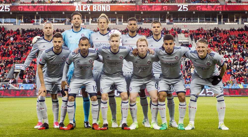 The starting XI for the Chicago Fire on April 21, 2017. Nemanja Nikolic, Jorge Bava, Michael Harrington, Johan Kappelhof, Joao Meira, Brandon Vincent, Juninho, Dax McCarty, Luis Solignac, Bastian Schweinsteiger, Michael de Leeuw. Picture by Dennis Marciniak of denMAR Media.