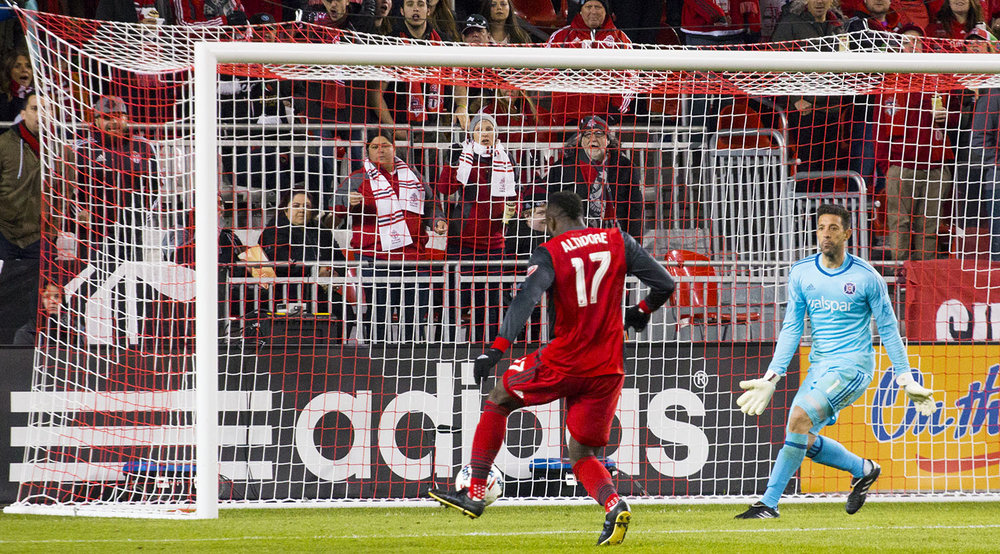 Jozy Altidore with an attempt on the south end net at BMO Field in 2017. Image by Dennis Marciniak of denMAR Media.