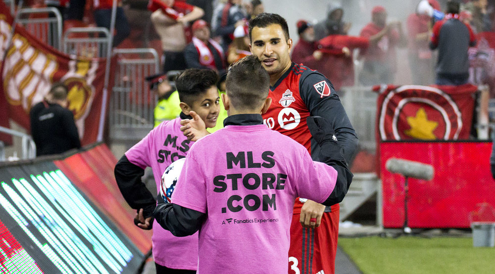 Steven Beitashour gives thanks to the ball boys after a 2-1 win against Orlando City SC on May 3, 2017 at BMO Field. Image by Dennis Marciniak of denMAR Media.
