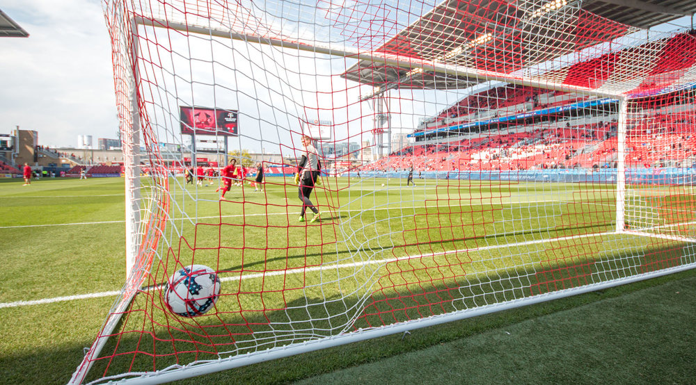 Tosaint Ricketts gets a shot in the net during warm ups before the match against Minnesota United on May 13, 2017. Image by Dennis Marciniak of denMAR Photography.