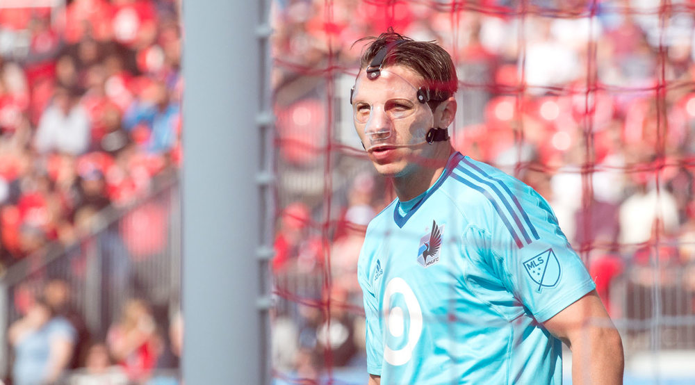 Bobby Shuttleworth wearing a face mask during a game in BMO Field against Toronto FC on May 13, 2017. Image by Dennis Marciniak of denMAR Media.